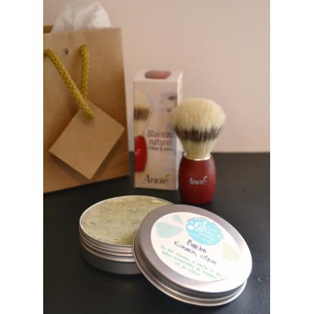 coffret savon à barbe bio aux huiles essentielles de romarin et de citron